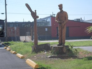 Statues from damaged trees